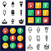Ice Cream All in One Icons Black & White Color Flat Design Freehand Set