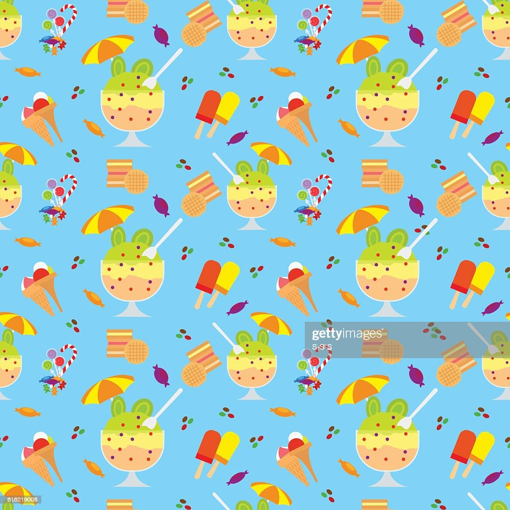 Ice cream and candies seamless pattern : Vector Art