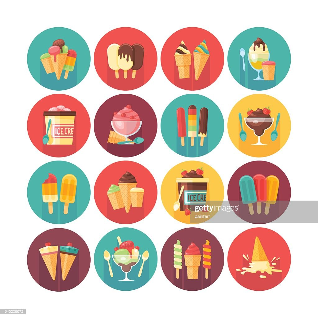 Ice cream and frozen desserts and sweets icon collection.