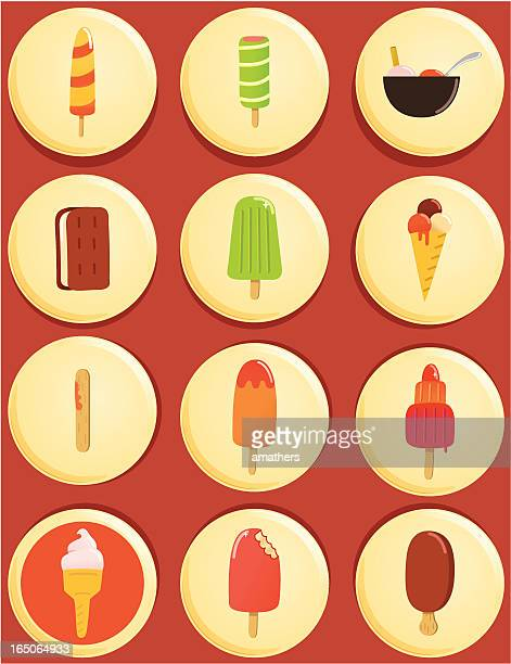 ice cream and lollies button badges - flavored ice stock illustrations, clip art, cartoons, & icons