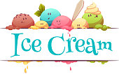 Ice cream banner with color drops. Vector illustration
