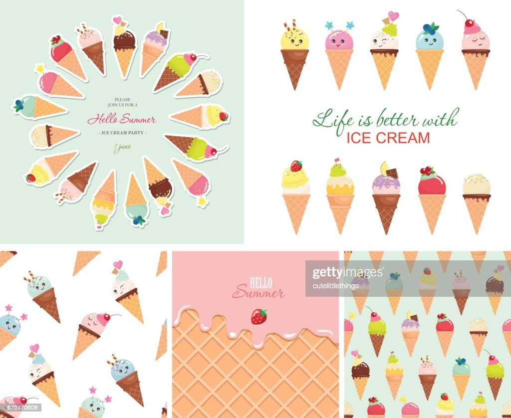 Ice cream big set. Seamless patterns, templates, stickers. Hello summer design.