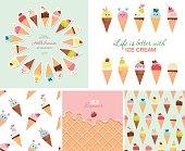 Ice cream big set. Seamless patterns, templates, stickers. Hello summer design.