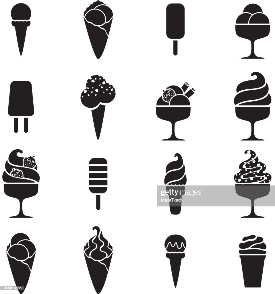 Ice cream black icons set in flat style.