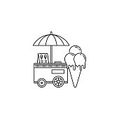 Ice cream cone and cart icon vector linear design isolated on white background. Park logo template, element for amusement park, line icon object