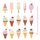 Ice cream cone and popsicle set isolated on white.