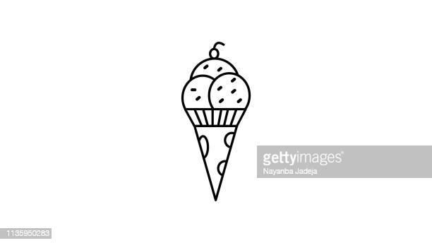ice cream cone icon - frozen yogurt stock illustrations, clip art, cartoons, & icons