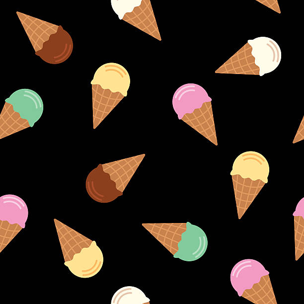 ice cream cone pattern flavors - ice cream stock illustrations