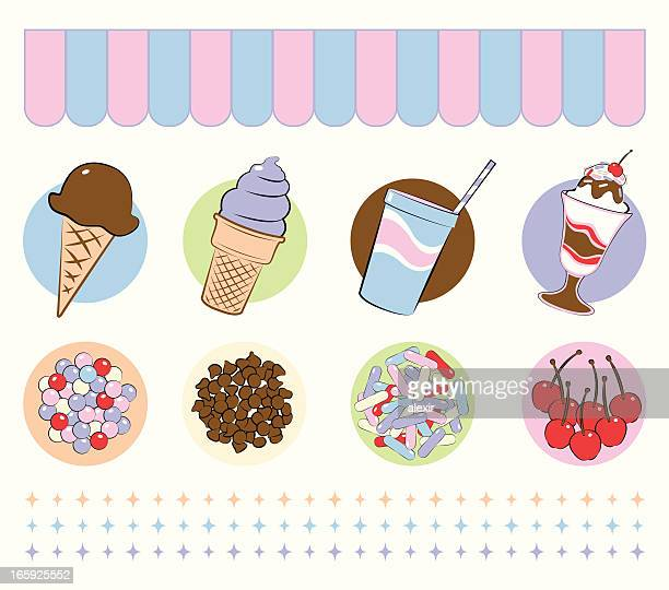 ice cream desserts and toppings - dessert topping stock illustrations, clip art, cartoons, & icons