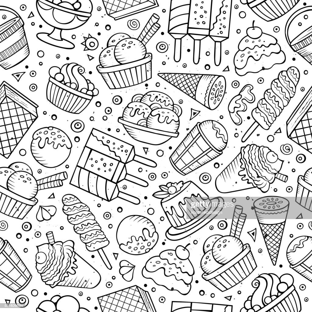 Ice cream doodles seamless pattern