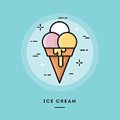 Ice cream, flat design thin line banner