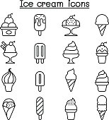 Ice cream icon set in thin line style