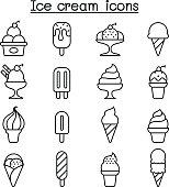 Ice cream icon set in thin line style