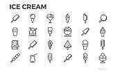 Ice cream icons. Summer dessert, tasty food, sundae and others symbols. Editable stroke. Pixel perfect.