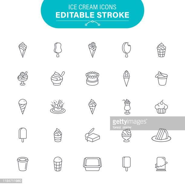 ice cream icons - scoop shape stock illustrations, clip art, cartoons, & icons