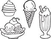 Ice Cream Line Art