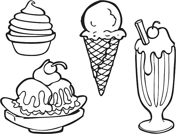 ice cream line art - ice cream stock illustrations