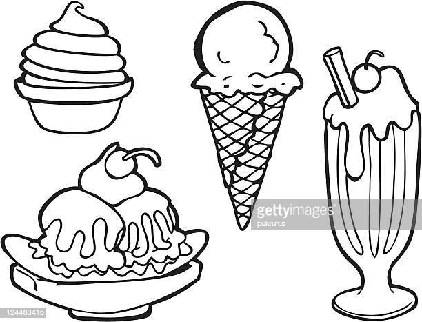 ice cream line art - frozen yogurt stock illustrations, clip art, cartoons, & icons