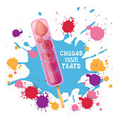 Ice Cream Lolly Colorful Dessert Icon Choose Your Taste Cafe Poster