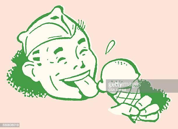 ice cream man enjoying cone - licking stock illustrations, clip art, cartoons, & icons