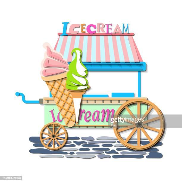 ice cream market cart mockup. - paperboard stock illustrations