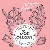 Ice cream menu restaurant, dessert food template.