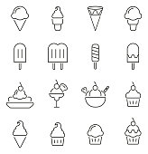 Ice Cream or Frozen Treats Icons Thin Line Vector Illustration Set