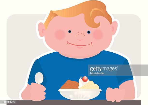 ice cream party! chocolate and vanilla! - eating ice cream stock illustrations, clip art, cartoons, & icons