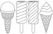 Ice cream popsicle cone line art black and white icon set.