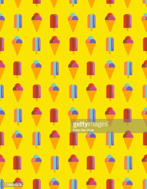 ilustraciones, imágenes clip art, dibujos animados e iconos de stock de vector patrón de helado - glazed food