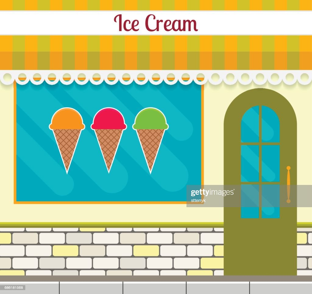 Ice cream shop facade in flat style. EPS10 vector illustration of city small business store design.
