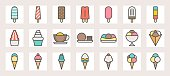 Ice cream, soft serve,ice shave, scoop in crape and popsicle filled color line icons size 128 px , 4 px stroke width, on grid