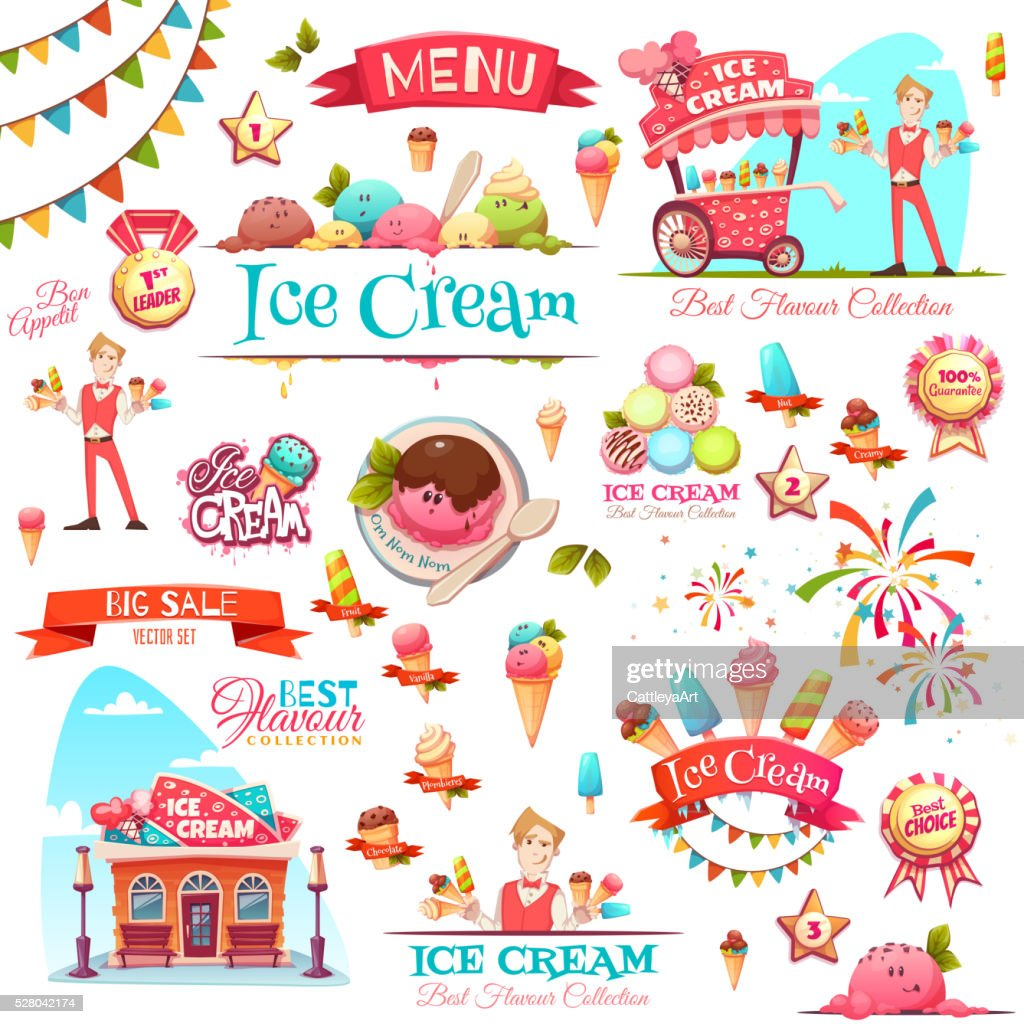 Ice cream vector set with banner icons and illustrations