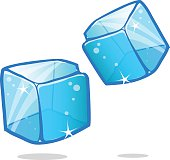 Ice cubes and melted ice cube vector set