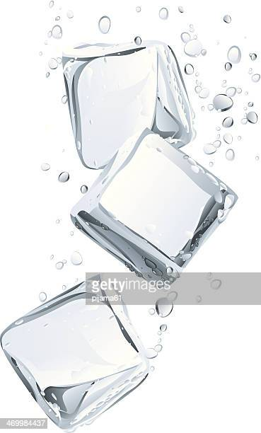 ice cubes and water bubbly - floating on water stock illustrations