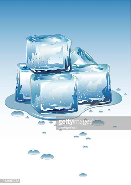 ice cubes - puddle stock illustrations, clip art, cartoons, & icons