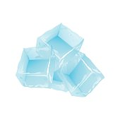 Ice cubes vector set on white background.