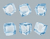 Ice cubes vector set