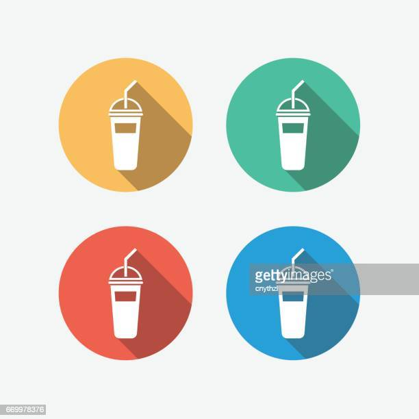 ice drink multi colored circle flat icon - juice drink stock illustrations, clip art, cartoons, & icons