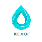 Ice drop vector template. Recommended for cryotherapy, clean water