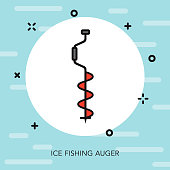 Ice Fishing Auger Winter Sports Icon