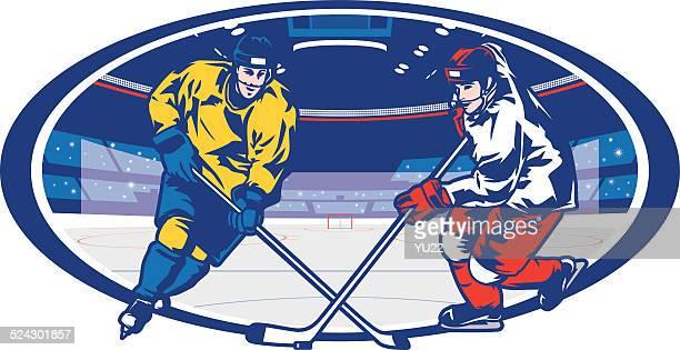 illustrazioni stock, clip art, cartoni animati e icone di tendenza di arena matchup hockey su ghiaccio - difensore hockey su ghiaccio