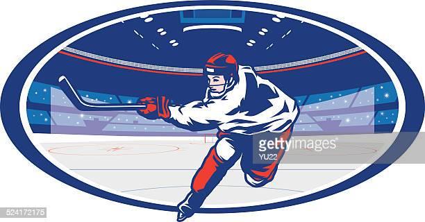 ice hockey arena slapshot - stick plant part stock illustrations