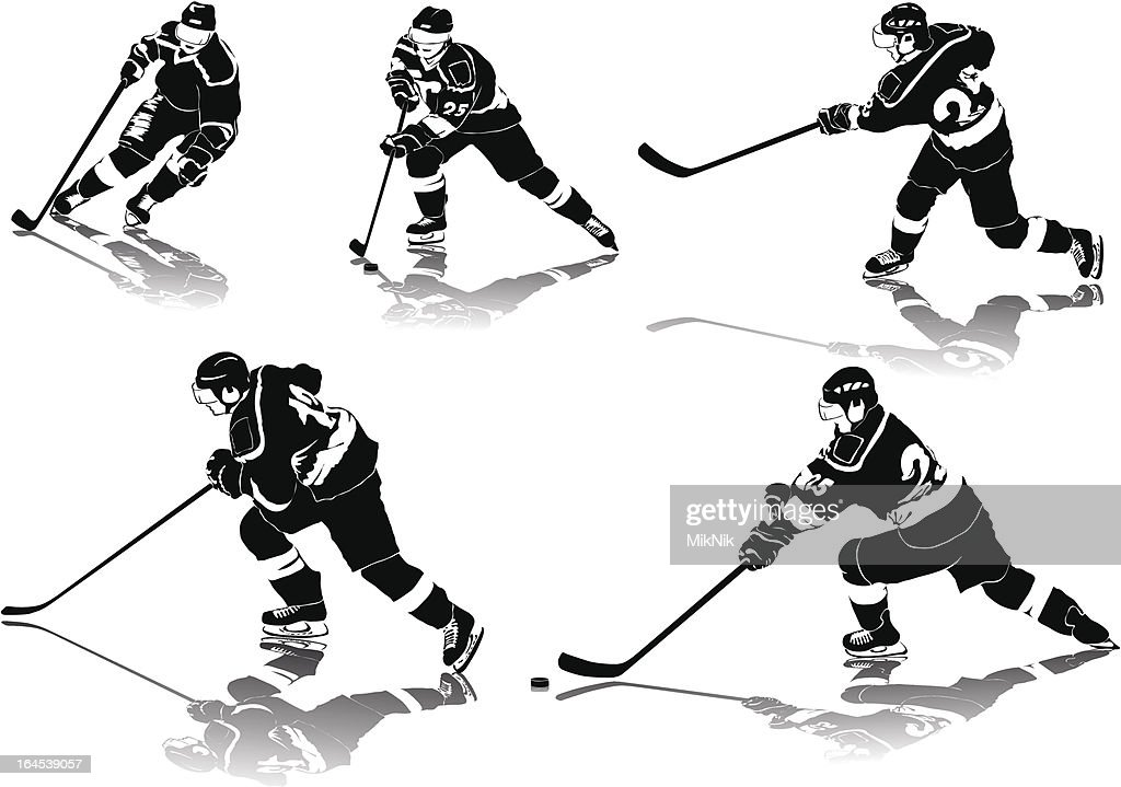 ice hockey figures in black uniform with shadows