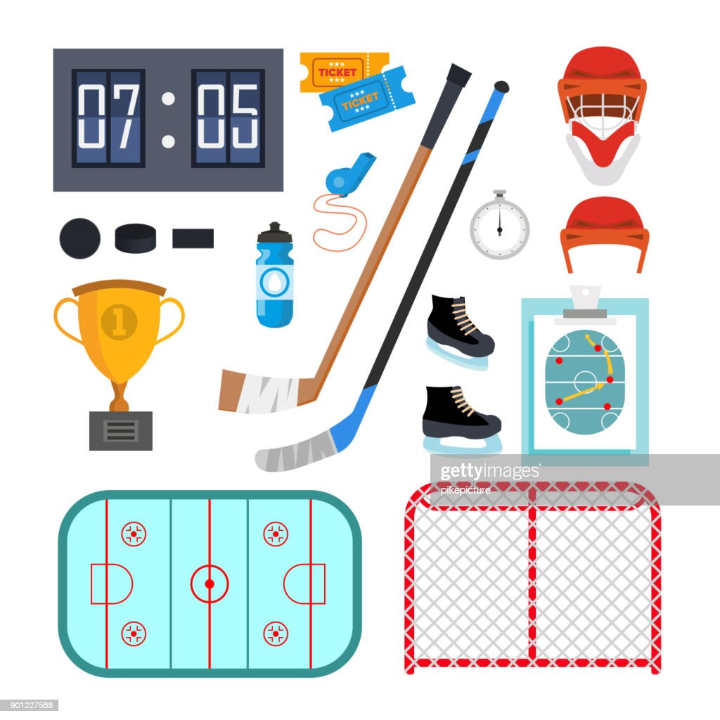 Ice Hockey Icons Set Vector. Ice Hockey Symbols And Accessories. Isolated Flat Cartoon Illustration
