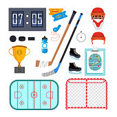 Ice Hockey Icons Set Vector. Ice Hockey Symbols And Accessories. Isolated Flat Cartoon Illustration