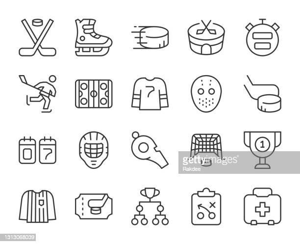 ice hockey - light line icons - puck stock illustrations