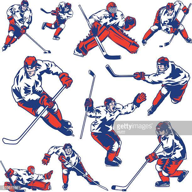 ice hockey player set - ice hockey player stock illustrations
