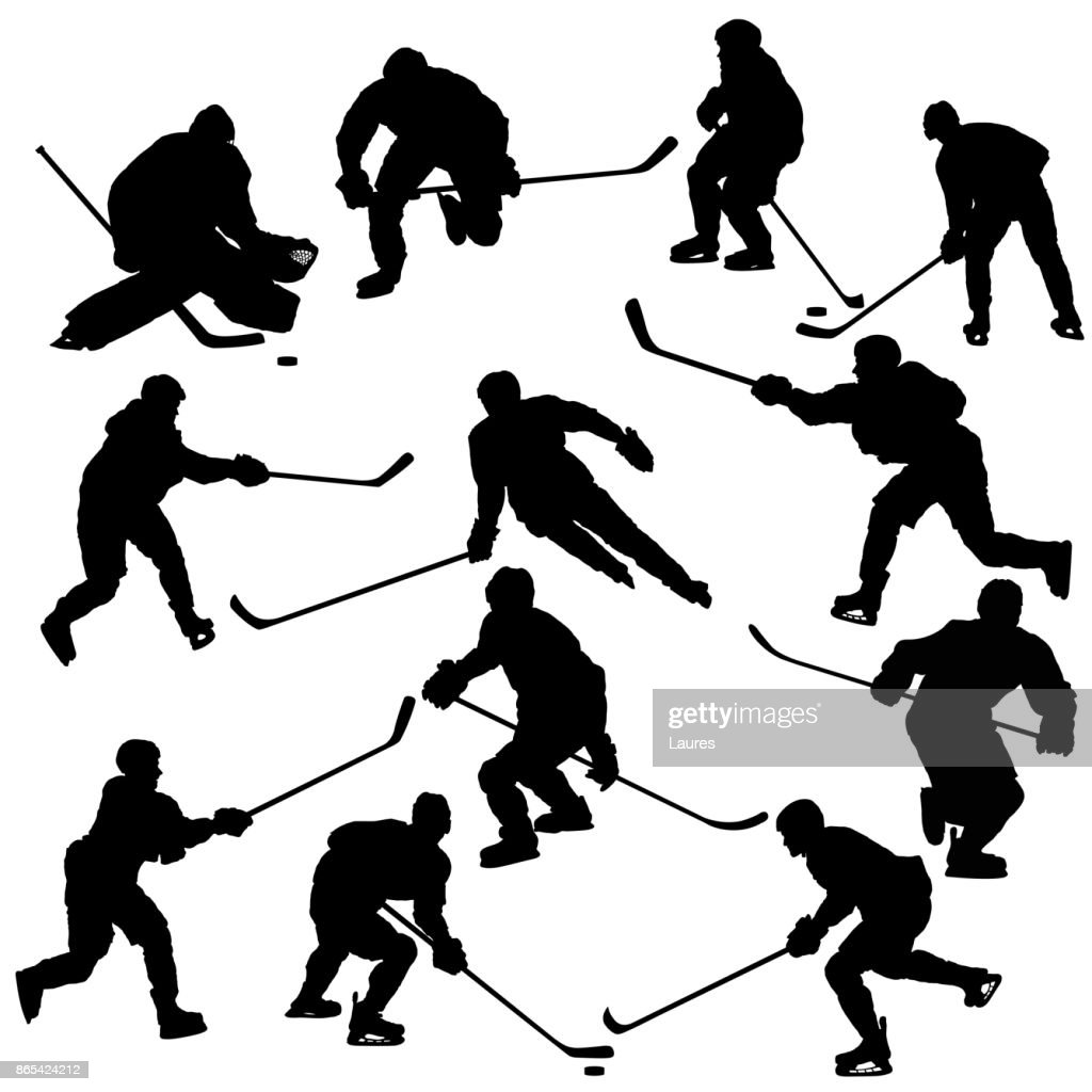 Ice hockey players silhouettes set