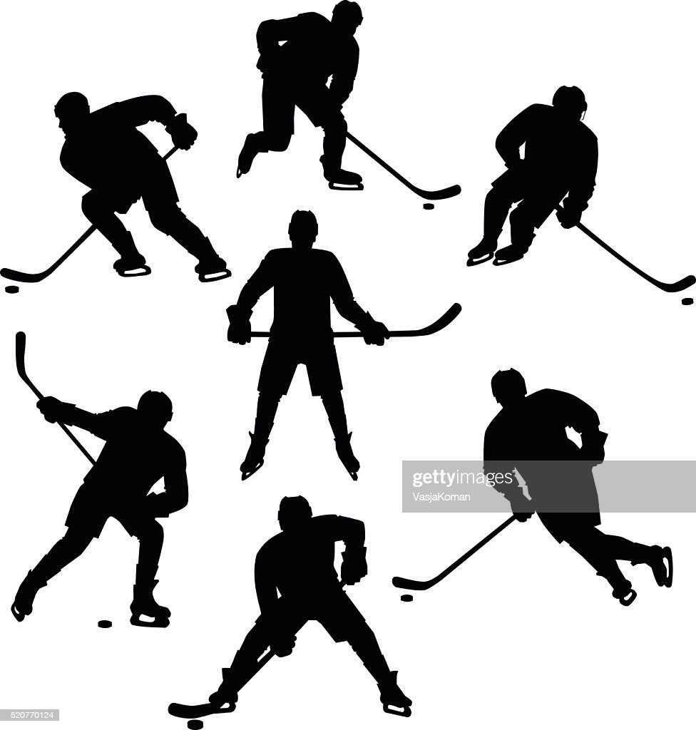 Ice Hockey Seven Silhouettes Set